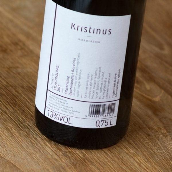 Kristinus Olaszrizling label back
