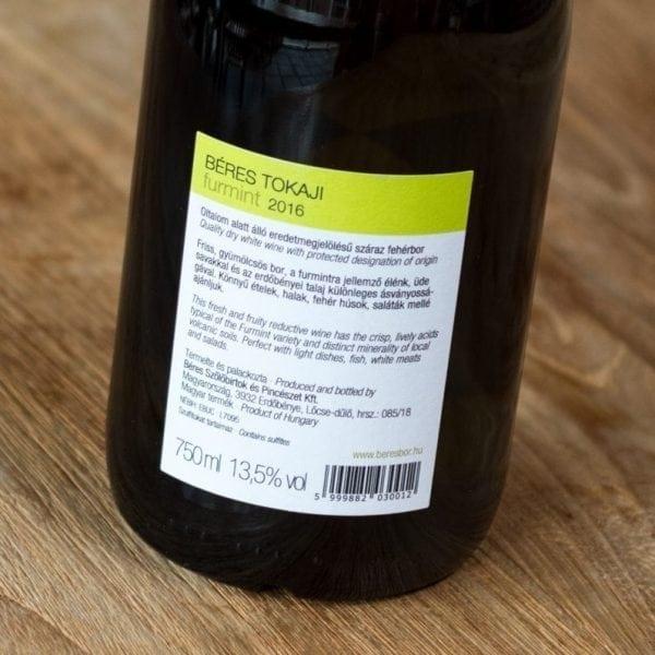 Béres Furmint dry label achterzijde